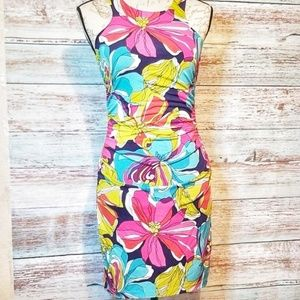 Trina Turk Dress Floral Pattern Blue Pink Yellow